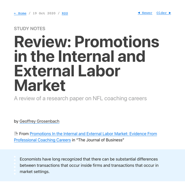 Review: Promotions in the Internal and External Labor Market