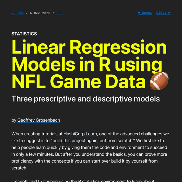 Linear Regression Models in R using NFL Game Data 🏈