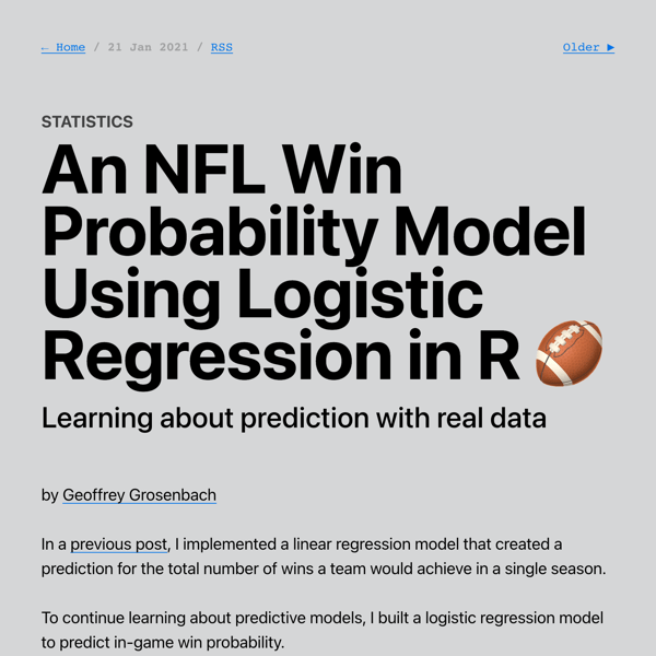 An NFL Win Probability Model Using Logistic Regression in R 🏈